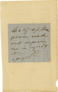 """Autographs:Military Figures, Jefferson Davis Autograph Note Signed, """"J D"""", one page, 3"""" x 2.75"""", Richmond, January 4, 1865, to """"Secy of War"""" [Jam..."""