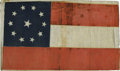 "Military & Patriotic:Civil War, Eleven-Star Confederate First National Flag, 16"" x 9.5"", coarse linen, printed on both sides. The flag's blue canton has a l..."