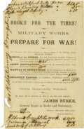 """Military & Patriotic:Civil War, Confederate Bookseller's Handbill, one page, 5.25"""" x 8.5"""", Houston, Texas, October, 1861. Headlined """"Books For The Times! / ..."""