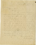 "Autographs:Military Figures, Confederate Senator William S. Oldham of Texas Autograph Letter Signed, ""W. S. Oldham"", one page, 7.5"" x 10"", Richmond, ..."