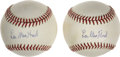 Baseball Collectibles:Others, Lee MacPhail Single Signed Baseballs Lot of 2. (MacPhail Baseballs)...