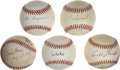 Autographs:Baseballs, Baseball Executives And Broadcasters Signed Baseballs Lot Of 5....