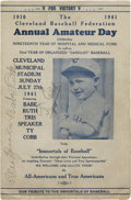 Autographs:Others, Babe Ruth Ty Cobb And Tris Speaker Signed Program. ...