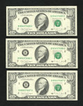 Error Notes:Blank Reverse (100%), Fr. 2028-B $10 1988A Federal Reserve Notes. Three Consecutive Examples, Including a Blank Back Error. Very Choice Crisp Uncirc... (Total: 3 notes)