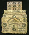 Confederate Notes:Group Lots, Mixed Lot of Confederate Notes. Seven Examples.. ... (Total: 7notes)