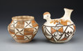 American Indian Art:Pottery, TWO ACOMA POTTERY VESSELS. c. 1940...