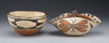 American Indian Art:Pottery, TWO SANTO DOMINGO POLYCHROME POTTERY VESSELS. c. 1940... (Total: 2Items)