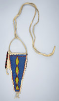 American Indian Art:Beadwork and Quillwork, A NORTHERN PLAINS BEADED HIDE BELT POUCH. c. 1900...