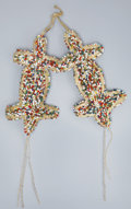 American Indian Art:Beadwork and Quillwork, A PAIR OF SIOUX BEADED HIDE UMBILICAL FETISHES. c. 1925...