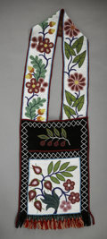 American Indian Art:Beadwork and Quillwork, AN OJIBWE BEADED CLOTH BANDOLIER BAG. c. 1890...