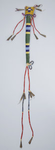 American Indian Art:Beadwork and Quillwork, A SIOUX BEADED HIDE AWL CASE. c. 1890...