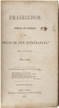 Books, [Frederick B. Page] Prairiedom: Rambles and Scrambles inTexas or New Estrémedura. By A. Suthron. New York: Pain...