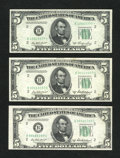 Small Size:Federal Reserve Notes, $5 1950A Star and 1950B Pair of Federal Reserve Notes. Extremely Fine or better.. ... (Total: 3 notes)