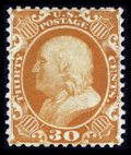 Stamps, #46, 1875 Reprint, 30c Yellow Orange, XF 90 PSE. (No Gum As Issued)....