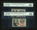 Fractional Currency:Fifth Issue, Fr. 1308 25c Fifth Issue PMG Gem Uncirculated 65 EPQ.. Fr. 1309 25cFifth Issue PMG Gem Uncirculated 65 EPQ.... (Total: 2 notes)