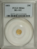 California Fractional Gold: , 1853 25C Liberty Octagonal 25 Cents, BG-102, Low R.4, MS64 PCGS.Die State II with a weak 8 in the date. This pleasing yell...