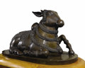 Bronze:European, An Indian Bronze Nandi Bull. Unknown maker, South India. Circa1860. Bronze. Unmarked. 174 x 92 inches (442.0 x 233.7 cm)...