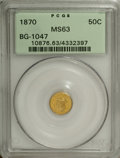 "California Fractional Gold: , 1870 50C Liberty Head Round 50 Cents, BG-1047, High R.4, MS63 PCGS.This obverse is sometimes called the ""Goofy Head"" for t..."
