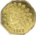 California Fractional Gold: , 1868 50C Indian Octagonal 50 Cents, BG-960A, High R.6, MS63Prooflike NGC. (#710829)...
