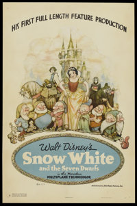 "Snow White and the Seven Dwarfs (RKO, 1937). One Sheet (27"" X 41"") Style B. Animated"