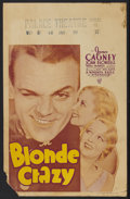 "Movie Posters:Comedy, Blonde Crazy (Warner Brothers, 1931). Window Card (14"" X 22"").Comedy...."