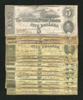 Confederate Notes:Group Lots, Sixteen $5 CSA Notes.. ... (Total: 16 notes)