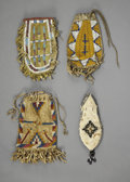 American Indian Art:Beadwork and Quillwork, FOUR PLAINS BEADED HIDE POUCHES. c. 1890 - 1910. ... (Total: 4Items)