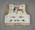 American Indian Art:Beadwork and Quillwork, A PLAINS BEADED CLOTH PICTORIAL VEST. c. 1915...