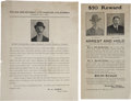 Miscellaneous:Ephemera, Two 1906 Wanted Posters, Colorado Springs and Los Angeles. ...(Total: 2 Items)
