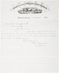 """Miscellaneous:Ephemera, Two Pony Express-Related Items: """"Overland Mail to California"""" and """"Office of the Overland Mail Company Salt Lake City, Utah T..."""