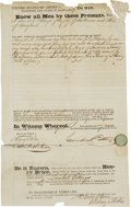 Miscellaneous:Ephemera, Texian Scrip Certificate: Document Signed by Lambert Gittings,Henry Price, and George M. Robertson. One page partly printed...