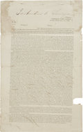 """Miscellaneous:Ephemera, [Texas Republic] General Land Office Document Signed. Two pagesmostly printed, 8"""" x 13"""", February 21, 1845, General Land Of..."""