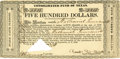 "Miscellaneous:Ephemera, [Texas Republic] Consolidated Fund of Texas. One page, 6.5"" x3.25"", 1839, Houston. This $500 certificate was issued to Nath..."