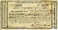 """Miscellaneous:Ephemera, [Texas Republic] Consolidated Fund of Texas. One page, 6"""" x 3.25"""",March 1, 1839, Houston. This $100 certificate was issued ..."""