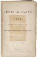 Books, The Texas Almanac for 1867. Galveston: W. Richardson &Co., 1866....