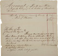 """Miscellaneous:Ephemera, [Slavery] Receipt for Payment of Slave Labor. One page, 8.25"""" x 13.5"""", """"County of San Augustine"""", 29 July 1851. ..."""