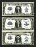 Fr. 238 $1 1923 Silver Certificates. Three Consecutive Examples. Choice About New or Better