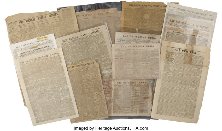 Texas C S A ] Group of Texas Civil War-era Newspapers  | Lot