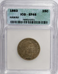 Coins of Hawaii: , 1883 25C Hawaii Quarter XF45 ICG. NGC Census: (18/747). PCGSPopulation (69/1275). Mintage: 500,000. (#10987)...