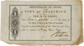 """Miscellaneous:Ephemera, Certificate of Stock in the Town of Swartwout. One page, 8"""" x 4.5"""". Houston: Telegraph Press [1838]. First printing. Sig..."""