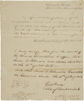 "Autographs:Statesmen, [Texas Revolution] Elisha M. Pease Document Letter Signed Twice assecretary of the Texas General Council. One page, 8"" ..."