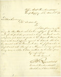 """Military & Patriotic:Indian Wars, Camp Supply, Indian Territory, Military Letter Signed Regarding BenClark, Scout and Guide, """"C. A. Reynolds"""", 1875..."""