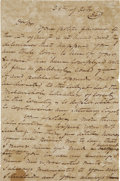 """Autographs:Military Figures, [Texas Republic] Philip Dimmitt Autograph Letter Signed. Three pages, 8"""" x 12"""", October 28, 1840, n.p. [Texas], to businessm..."""