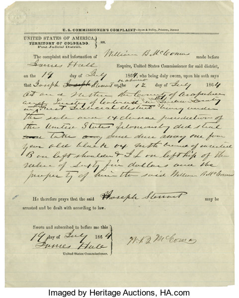Colorado Territory Criminal Complaint, 1864     Western Expansion