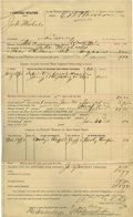"Western Expansion:Cowboy, Deputy Marshal Expense Document Signed, ""Wm. Ellis"", 1893...."