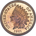 Proof Indian Cents, 1861 1C PR65 Cameo PCGS....