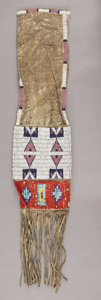 American Indian Art:Beadwork and Quillwork, A SIOUX BEADED HIDE TOBACCO BAG. c. 1910...