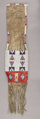 A SIOUX BEADED HIDE TOBACCO BAG c. 1910