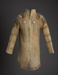 American Indian Art:Beadwork and Quillwork, A UNIQUE NORTHERN OJIBWE MAN'S QUILLED HIDE COAT. c. 1825...