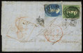 Stamps, Stanley Gibbons #15, 17 (Scott #5, 6), 1855 (2), 2p & 4p Green & Deep Blue. (Used)....
